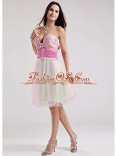 Sweetheart A-Line Organza Beading Prom Dress Multi-color Knee-length  http://www.fashionos.com    This strapless baby doll dress in multi-color has a youthful style that is chic and elegant. This cute prom dress features a sweetheart neckline. Sparkling beading accents on the bust and wide red waistband add dramatic effects. A whimsical ruffled hemline on the short layered skirt completes this design. The back features a zipper up closure that ensures a perfect fit.