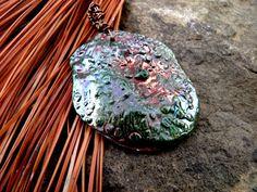 Copper Green Oval Pendant by PaintedbyFire on Etsy, $20.00