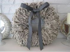 {Beautiful Nest}: More linen love: A Linen Wreath this could definitely be done with TShirt and some starch