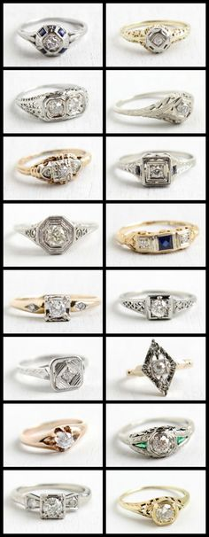 Antique engagement rings at Maejean Vintage; diamond rings in yellow gold and white gold.