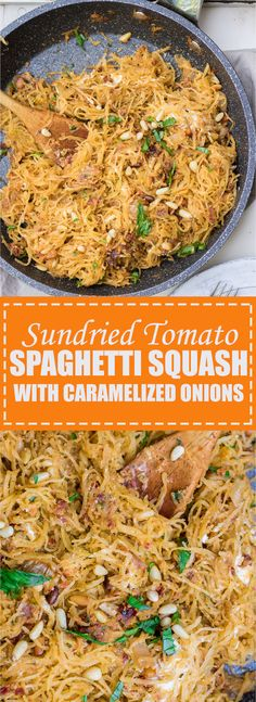 This Spaghetti squash is loaded with sun-dried tomato pesto, caramelized onions, goat cheese, and pine nuts. It's the perfect fall dish!