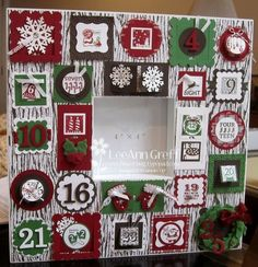 "Photo Frame counting down to Christmas using the Stampin' Up! ""25 & Counting"" stamp set and many Stampin' Up paper and enhancements."