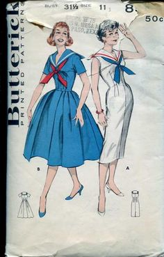 Butterick 8595; ca. late 1950s; Jr. Misses' & Misses' Middy Collared Dress. The clean, fresh lines of the middy dress reflect fashion's favorite new look. Slim and full versions sport a middy collar that's braid trimmed and accented by a contrasting tie. (A) Princess line sheath. (B) Full-skirted; short sleeved.