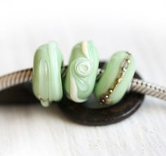 Lampwork Large Hole beads  Mint Delight sage green  by MayaHoney, pandora style