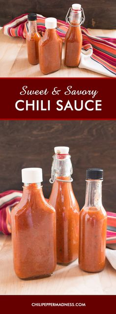 Sweet and Savory Chili Sauce - A recipe for all-purpose homemade chili sauce that is both sweet and savory, made with plenty of chili peppers, tomato, pineapple juice and tons of seasonings.