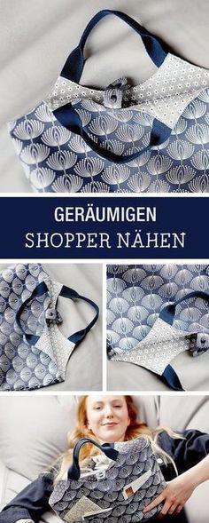 Nähanleitung für einen geräumigen Shopper, Taschen nähen / diy sewing pattern for a shopper bag via DaWanda.com