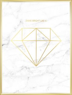 Mooie en luxe poster met diamant in goud op wit marmer. Deze poster is geschikt voor trendy en stijlvol interieur en kan gecombineerd worden met meer marmeren en gouden details. www.desenio.nl