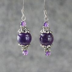 Amethyst drop earrings bridesmaid gift gift for her wedding image 0 Beaded Tassel Earrings, Bead Earrings, Earrings Handmade, Handmade Jewelry, Purple Earrings, Amethyst Earrings, Teardrop Earrings, Pearl Necklace, Wire Jewelry