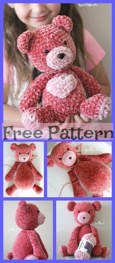 New Crochet Gifts Birthday Free Pattern Ideas Teddy Bear Patterns Free, Crochet Teddy Bear Pattern, Crochet Headband Pattern, Afghan Crochet Patterns, Amigurumi Patterns, Crochet Gifts, Cute Crochet, Crochet Dolls, Crochet Yarn