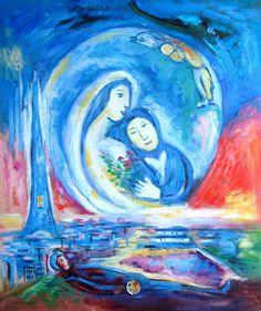 Himmlischer Traum, Heavenly Dream by Marc Chagall Marc Chagall, Artist Chagall, Chagall Paintings, Oil Painting Frames, Dream Painting, Jewish Art, Henri Matisse, Cubism, French Artists