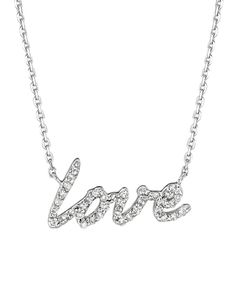 Morris & David White Gold and Diamond 'love' Pendant Necklace #maxandchloe