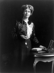 Emmeline Pankhurst (1858 - 1928), leader of the British suffragette movement which helped women win the right to vote