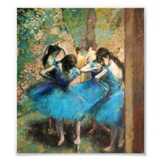 Blue Dancers, Oil on canvas by Edgar Degas. French painter, sculptor, and illustrator Edgar Degas was born  Pierre Auguste Renoir, Edouard Manet, Art Ballet, Ballet Painting, Painting Of Girl, Edgar Degas, Degas Paintings, Dance Paintings, Joan Mitchell