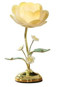 Collections Etc. Lotus Flower Touch Lamp, Table Lamp with Lotus Design, Yellow Touch Table Lamps, Touch Lamp, Lamp Table, Flower Lamp, Flower Table, Lotus Flower, Oil Lamp Centerpiece, Novelty Lamps, Victorian Lamps
