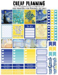 Van Gogh Stickers FREE Printable Van Gogh Planner Stickers by Cheap Planning To Do Planner, Passion Planner, Free Planner, Erin Condren Life Planner, Planner Pages, Happy Planner, 2016 Planner, Monthly Planner, Van Gogh
