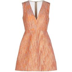 Alice And Olivia By Stacey Bendet Short Dress ($285) ❤ liked on Polyvore featuring dresses, orange, red orange dress, mini dress, jacquard dress, sleeveless short dress and short red cocktail dress