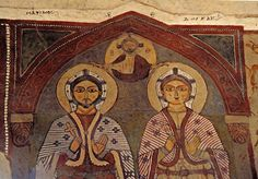 Egypt, St Antony's Monastery, founded in fourth century, thirteenth century Coptic wall painting in St Antony's Church, nave, SS Maximus and Domitius Adonai, Saint Antony, St Anthony's, Byzantine Art, Art Icon, Orthodox Icons, Celtic Designs, Sacred Art, Christian Art