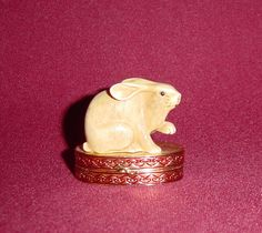 Estee Lauder Lucky Rabbit Solid perfume Compact from Alley Cat Lane Antiques and Collectibles on Ruby Lane