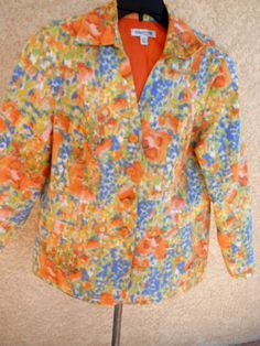 oldwater Creek 18W Blazer Plus Size Woman Orange Blue Floral Button Front New