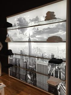 Oversized lightbox, backlit graphic behind clear merchandise shelves. #merchandising #display #illuminated @tcmillwork