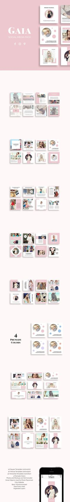 Gaia is a creative social media template designed for Pinterest, Instagram and Facebook. It is prepared with a strong fashion theme but it can be used in any field you like! Make a perfect impression of your brand with great-looking posts! Created by @slidestation on @creativemarket