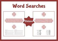 Work out the answers to division questions in words, then find them in the word search.