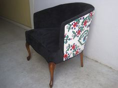 Refurbished Vintage Suzani Barrel Chair by elysejean on Etsy, $690.00  Like the dual-fabrics