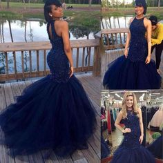 Mermaid Long Prom Dresses 2017 Dark Navy Blue Beaded Graduation Evening Gowns Key Hole Back Tulle Special Occasions Dress For Black Girl