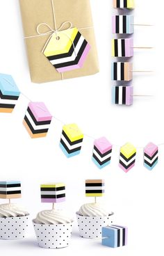 Licorice AllSorts gift tags, garland and cupcake toppers, from The Chaos Club, via we-are-scout.com.