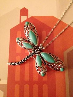 Turquoise Dragonfly Pendant Necklace And Broach In One