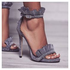 Ebony Frill Detail Heel In Grey Shimmer. Available in sizes UK 3-8