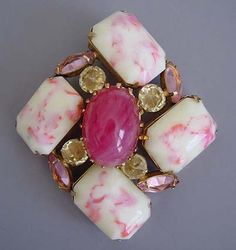 SCHREINER  pink and cream art glass and rhinestones brooch  with pink and yellow rhinestone accents, 3.