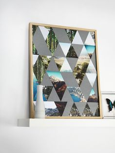 Cut a poster with a nature print, cut it in triangles and glue it onto a black background #diy #poster