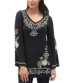 Another great find on #zulily! Black Paige Bell-Sleeve Tunic - Women by Caite #zulilyfinds