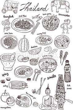 Vector Art : Thai food and icons doodles