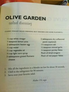 Olive Garden Salad Dressing Recipe 41914 Recipes In 2019 - Recipes to try - Salat Rezepte Olive Garden Dressing, Olive Garden Salad, Olive Garden Recipes, Copycat Recipes, Sauce Recipes, Cooking Recipes, Diet Recipes, Food Styling, Salad Dressing Recipes