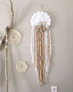 Image of PoomDream BoHeMe Diy Arts And Crafts, Creative Crafts, Handmade Crafts, Diy Crafts, Pom Pom Crafts, Yarn Crafts, Macrame Art, Boho Diy, Dream Decor