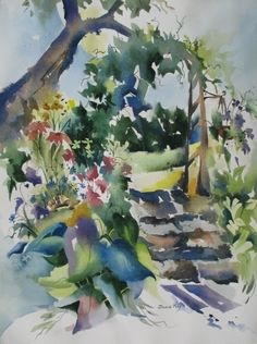 """Forget-Me-Not"""" by Jinnie May Watercolor ~ 30"""" x 22"""""""
