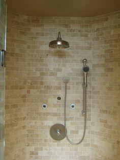 Mosaic travertine marble shower stall, installed by Mario