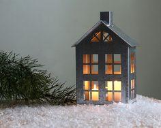 Tin huis kaars houder / / zink lantaarn / door DesignAtelierArticle