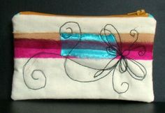 Zipped calico pouch - strips of procion dyed fabrics with machine embroidery - dragonfly 2
