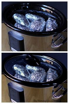 Slow Cooker Baked Potatoes Cook them on low for 8 hours (slow cooker times may vary), until tender when pressed with fingers.