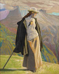 Willumsens majestætiske skildring af hustruen Edith i et bjerglandskab handler om menneskets forhold til naturen