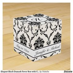 Elegant Black Damask Favor Box with Custom Name