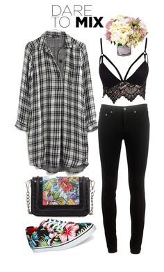 """dare to mix"" by giulisdasf ❤ liked on Polyvore featuring Madewell, rag & bone, Club L, Charles Jourdan, Vans and patternmixing"