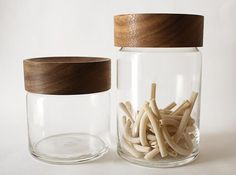 Beautiful modern glass canister with wooden top. #kitchen