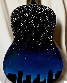 New York ukulele wallpaper Ukulele Art, Guitar Art, Music Guitar, Ukulele Drawing, Ukelele Painted, Painted Guitars, Ukulele Design, Hobbies To Try, Guitar Painting