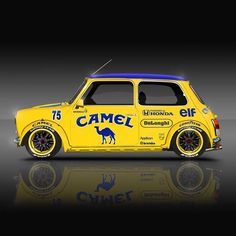 Classic Racing Legends Series 🚗🏁 💛💙💛 Mini in Camel Livery 🐪 - Autos - Cars Mini Cooper Classic, Classic Mini, Mini Cooper Custom, Classic Cars, Mini Clubman, Mini Coopers, Carros Suv, Vespa, Austin Mini