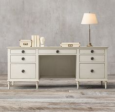 """Maison 76"""" Desk x 30 with keyboard center drop  Antique white finish"""