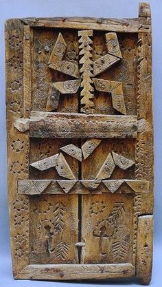 Africa | Granary door from the Berber people.  High Atlas region, Morocco | Early 20th century | Wood